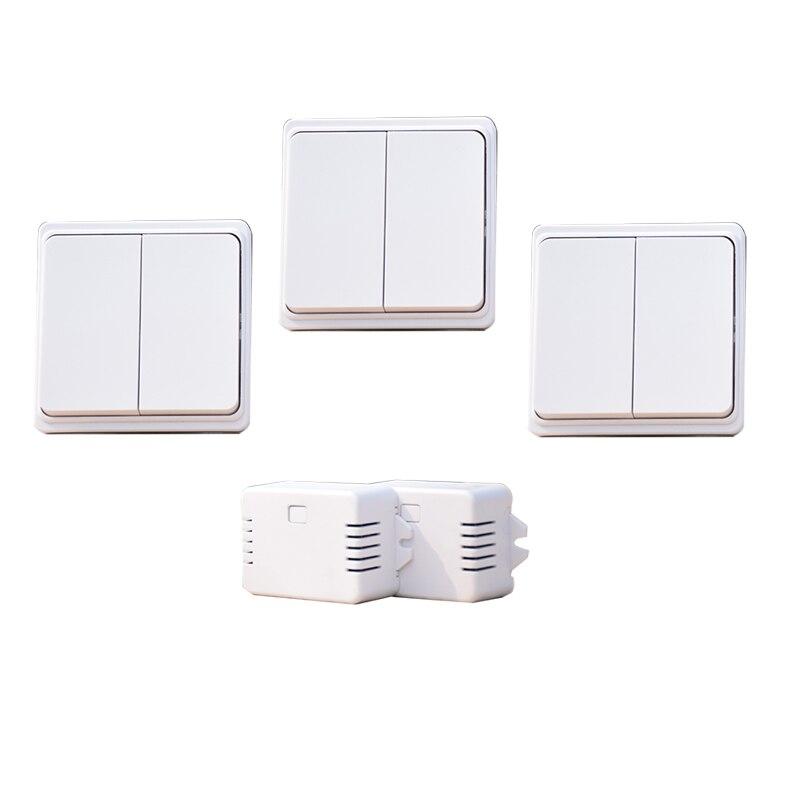 Augreener 3 boutons + 2 récepteurs interrupteur de lumière sans fil sans batterie 20 m plage de travail dans la chambre étanche 220 V commutateur
