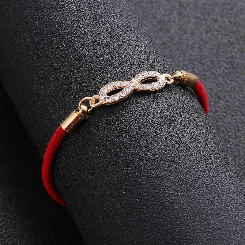 シンプルな絶妙なデジタル 8 十字架インフィニティシルバーカラーブレスレット薄い赤ロープスレッド String ブレスレット女性カップルギフト