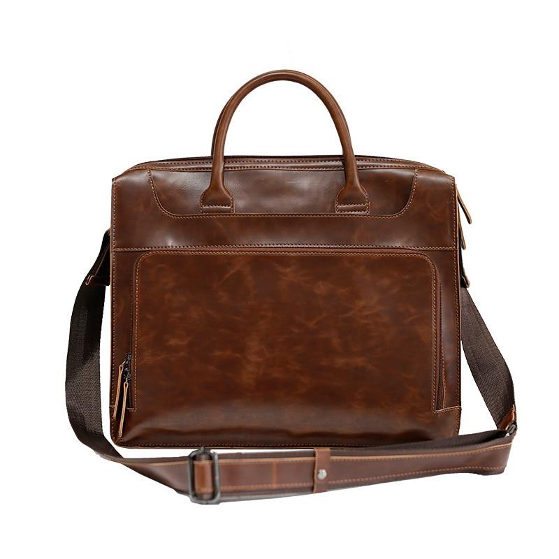 2019 Vintage Männer Kuh Echtes Leder Aktentasche Mode Crazy Horse Leder Männlichen Messenger Laptop Taschen Männer Business Reisetasche