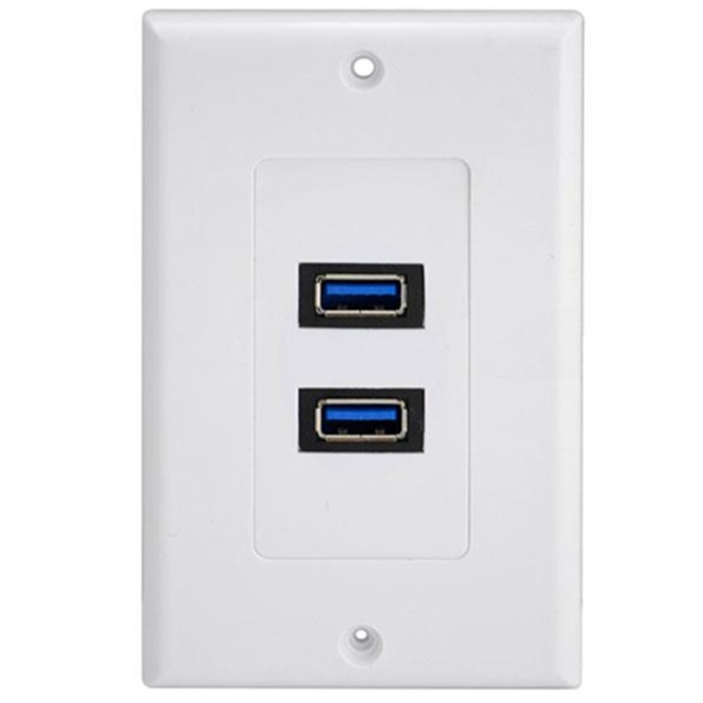 Dual Port USB 3.0 Wall Plate Charger Outlet Socket Adapter Receptacle Dock