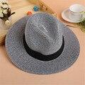 De Ala ancha Sombrero Para El Sol Para Las Mujeres Sombreros de Paja del Verano de Las Mujeres Sólido HatsHoliday Color Girls Summer Sun Beach Sun Cap Mujeres Sombrero de paja