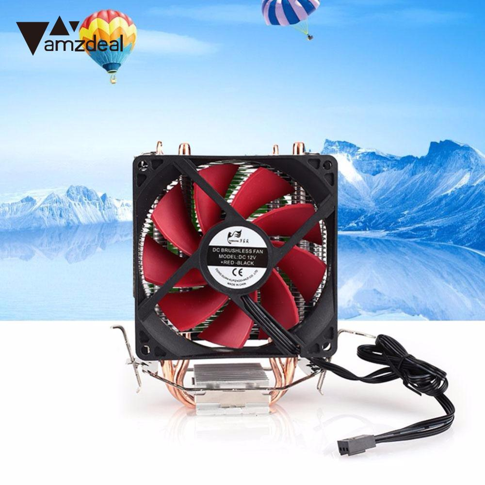 amzdeal CPU Cooler Silent Fan Cooling Dual Fan Cooler 2 Heatpipe Radiator Heatsink Radiator For Intel AMD Computer 3pin 12v cpu cooling cooler copper and aluminum 110w heat pipe heatsink fan for intel lga1150 amd computer cooler cooling fan