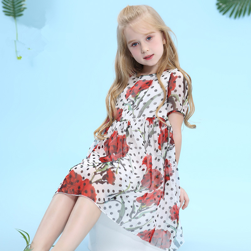 W.L.Monsoon Children's wear Girl dress Summer dress Slim fit Chiffon Yellow flower Short sleeve dress vintage v neck short sleeve butterfly print chiffon dress for women