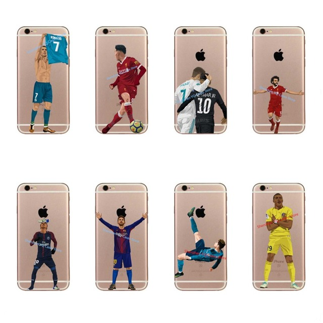 4f3bca696d9 Messi Soccer player Neymar Cristiano ronaldo Mo Salah phone case For iPhone  6 6S 7 7Plus 8 8 Plus Soft silicone Cover Coque