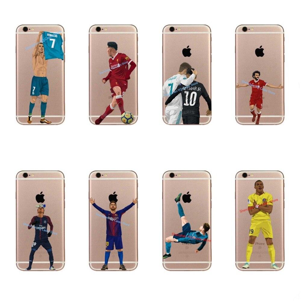 Messi Soccer player Neymar Cristiano ronaldo Mo Salah phone case For iPhone 6 6S 7 7Plus 8 8 Plus Hard plastic Cover Coque