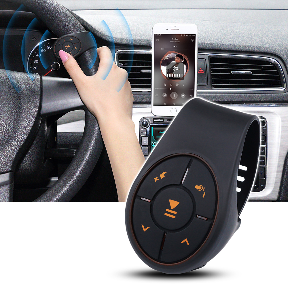 Wirless Bluetooth Remote Controller Steering Wheel Chain Type Handsfree Muilt-Button For Phone Music Play For IOS Android