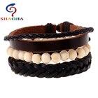 Leather Bracelet Simple Charm Bracelet For Women Heart Bracelets Bangles White Wood Beads DIY Jewellery Pulsera Leather Bracelet