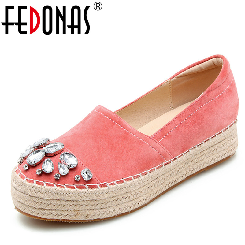 FEDONAS Ladies Flat Fashion Bling Rhinestone Women Flats Casual Leather Ballet Flats Shoes Woman Prom Platforms