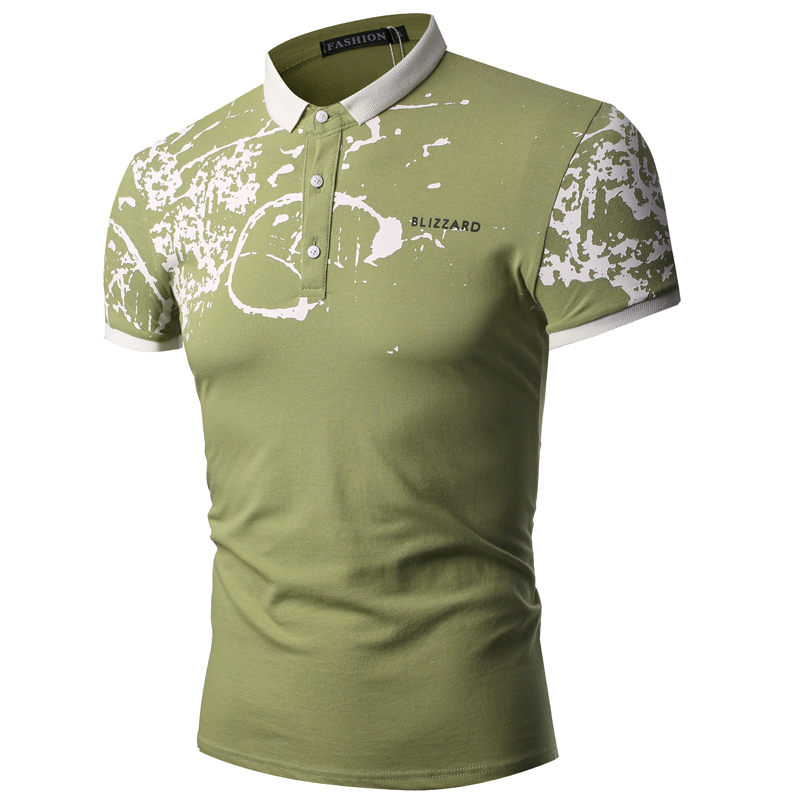 Men new bamboo leaf print lapel summer fashion short-sleeved polo shirt High Quality Pure Color Casual Business Short Sleeve Top