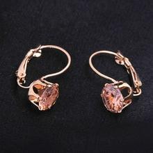 Винтажные розовые золотистые серьги-кольца для женщин, модные серьги с фианитами и кристаллами, ювелирные изделия для свадебной вечеринки, подарок на день Святого Валентина