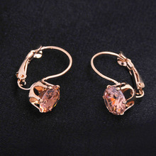 Pendientes de aro de color dorado rosa Vintage para mujer pendientes de moda CZ cristal joyería para fiesta y boda brinco regalo del Día de San Valentín
