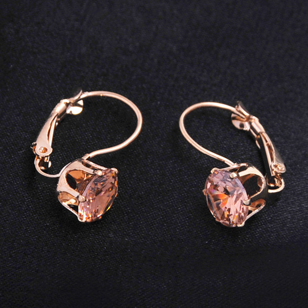 Vintage Rose Gold Color Hoop Earrings For Women Fashion CZ Crystal Earrings Wedding Party Jewelry Brinco Valentines Day Gift