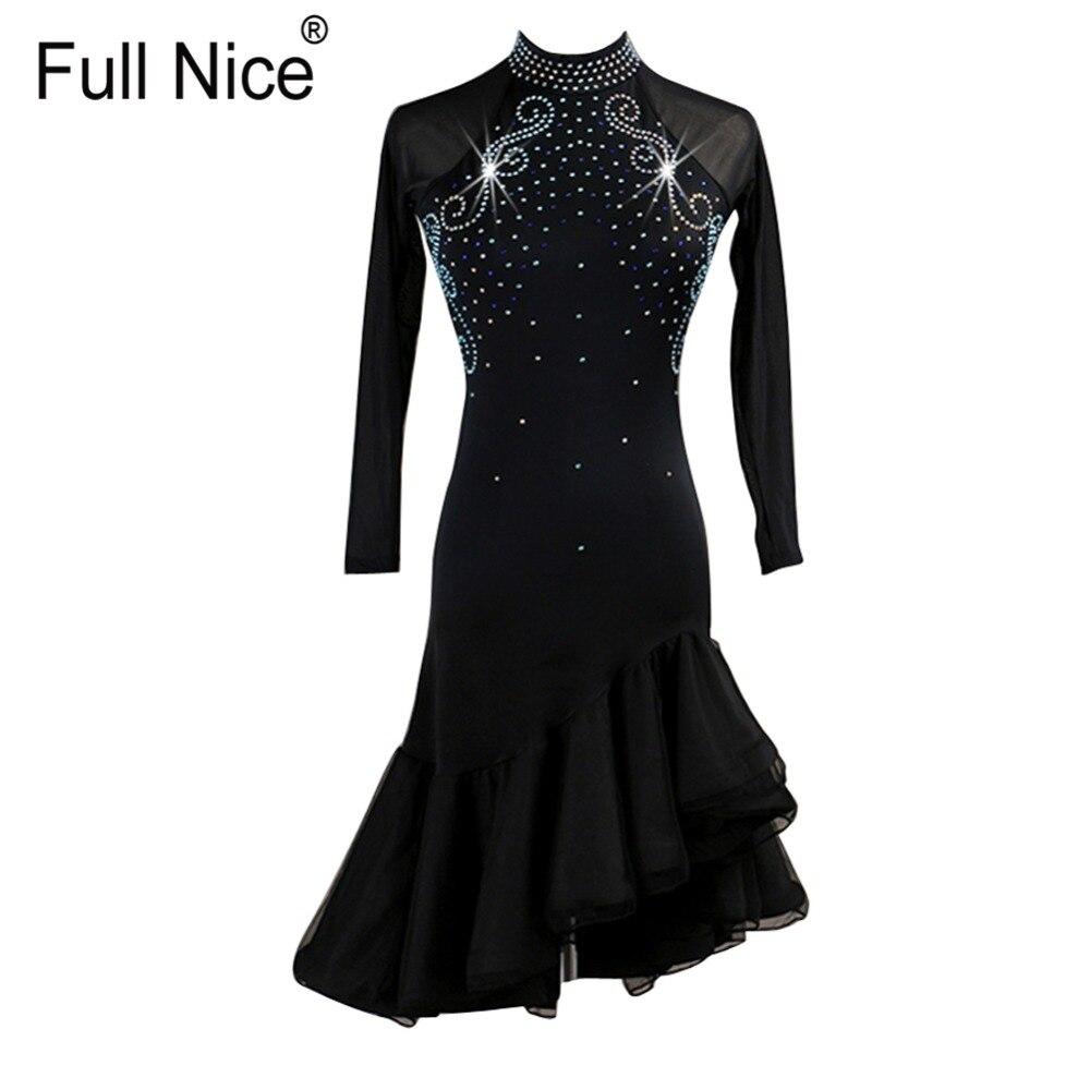 Women's Long Sleeve Crystals Rhinestones Latin Tango Cha Cha Dance Dress Costumes