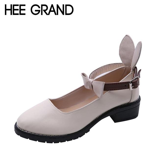 1586f719f4 HEE grande Decoração Da Borboleta-nó Mulheres Moda Thick Heel Bombas  Mulheres Sapatos Dedo Do