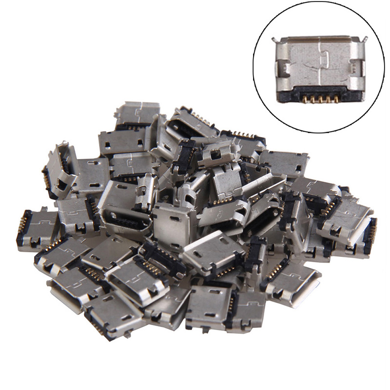 High Quality <font><b>50</b></font> pcs Micro <font><b>USB</b></font> <font><b>5pin</b></font> B Type Female <font><b>Jack</b></font> Socket Connector for Phone Connectors Terminals DA image