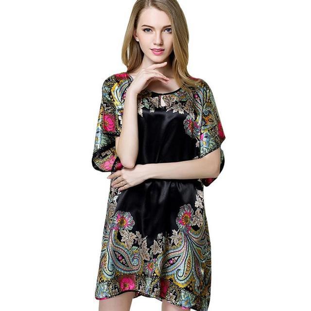 Verão Sexy Mulheres Pijamas de Seda Estilo De Noite Camisa de Manga Curta Plus Size Nightgowns Sono