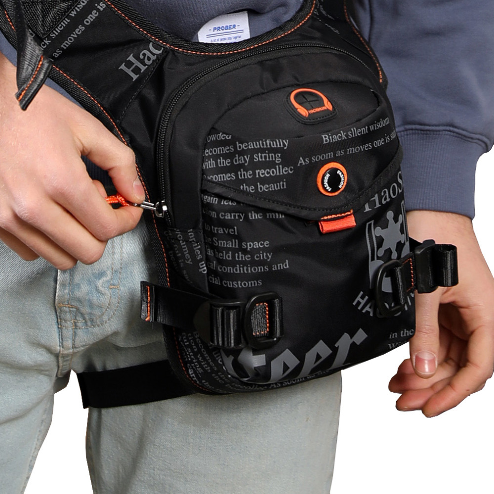 Men Waterproof Nylon Drop Leg Bag Thigh Hip Bum Belt Fanny Pack Waist Military Travel Riding Motorcycle Cross Body Shoulder Bags
