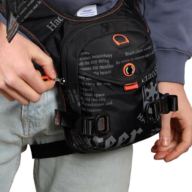 Men Waterproof Nylon Drop Leg Bag Thigh Hip Bum Belt Fanny Pack Waist Military Travel Riding Motorcycle Cross Body Shoulder Bags