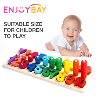 Enjoybay Wooden Montessori Math Toys Count Numbers Matching Shape Learning Toy Preschool Early Educational Toys for Children