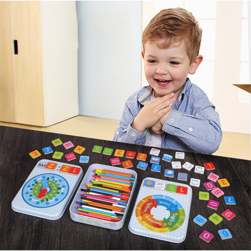 Wooden Toy Materials Abacus Counting Wood Stick With Box Math Early Learning Educational Toys For Children Kids Preschool Tool
