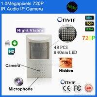 Hot Sale P2P Pir Style ONVIF 1MP Mini Pin Hole Video Ip Camera 720P Microphone 48pcs