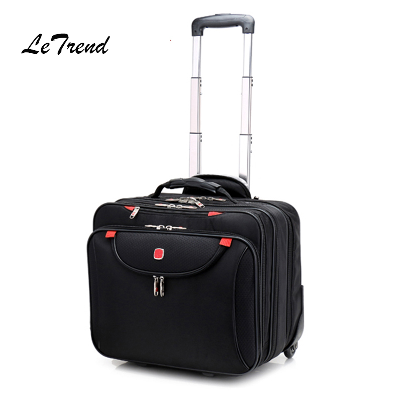 Letrend Multifunction Men Business Rolling Luggage Casters Suitcases Wheels 16 inch Oxford Cabin laptop Travel Bag Trolley letrend business leisure rolling luggage casters oxford trolley 18 inch women carry on luggage wheels suitcases travel bag men