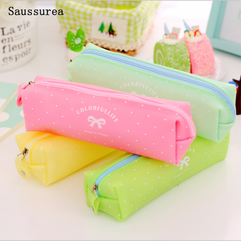 Large Capacity Bow Pattern Case Jelly Gel Cute School Supplies <font><b>Bts</b></font> Stationery School Cute Pencil Box Pencilcase Pencil Bag image