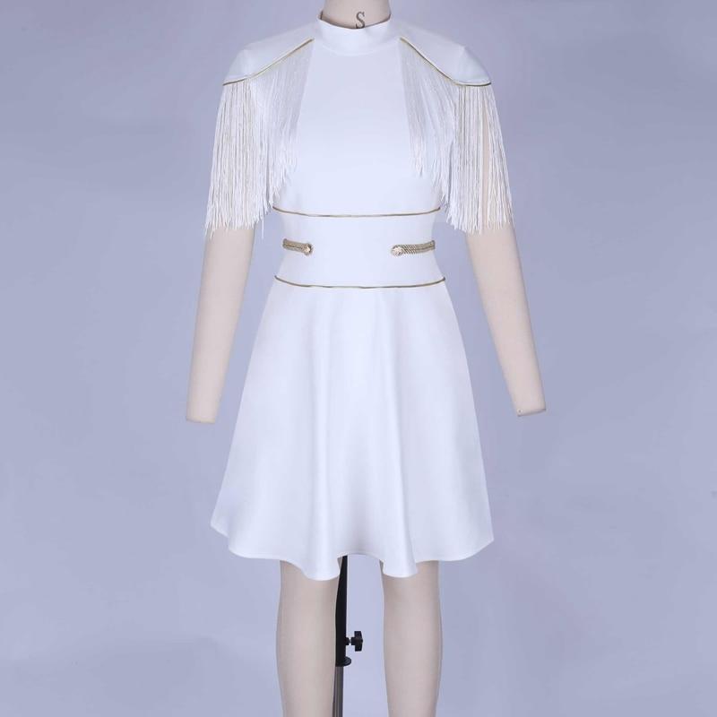 Tassel Vestidos White Bandage 10