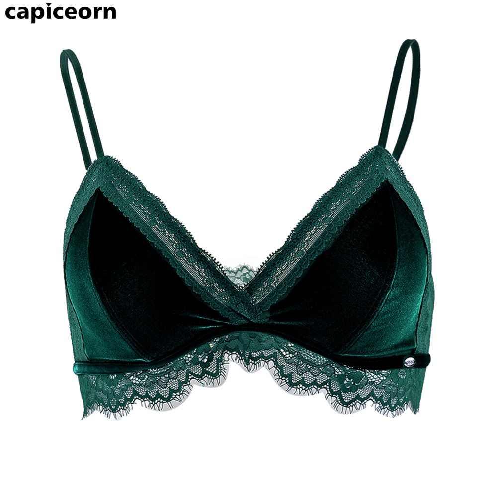 7f8e60ec850 ... Dark Green Sexy Velvet Girl s Underwear 3 4 Cup Woman Unpadded Plunge  Bra Tow Hook ...