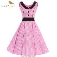 Sishionエレガント綿ピンクdressプラスサイズセクシーなパーティースイングレトロビンテージdressポルカドットオードリー女性サマードレスvd0533