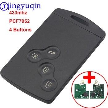 Bilchave 4 Bottoni Remote Smart Card Auto Chiave Fob FSK 433MHZ PCF7952 Chip Per La Renault Megane Scenic Laguna Koleos clio