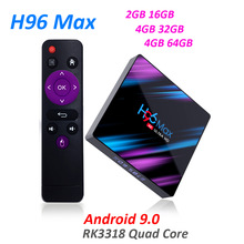 android box H96 MAX RK3318 4K Smart TV Box Android 9.0 Android TV BOX Google Voice Assistant Play Store Netflix Youtube 4K IPTV цена и фото