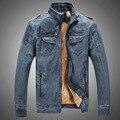 Плюс Бархат Высшим Пальто Мужской Ковбой Твердые 2016 Новый Бренд PU винтаж Воротник Куртки для Мужчин Моды Короткий Стиль Slim Fit 8818