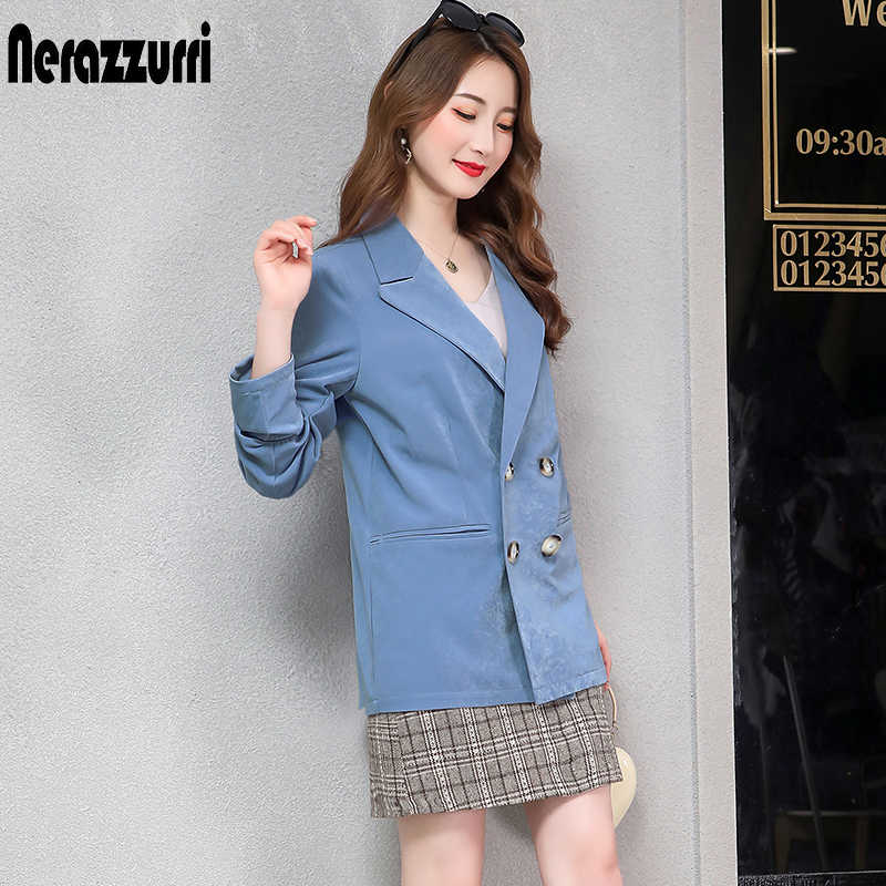 Nerazzurri ladies blazer plus size women blazers and jackets 2019 4xl 5xl 6xl 7xl slim black double breasted work office jacket