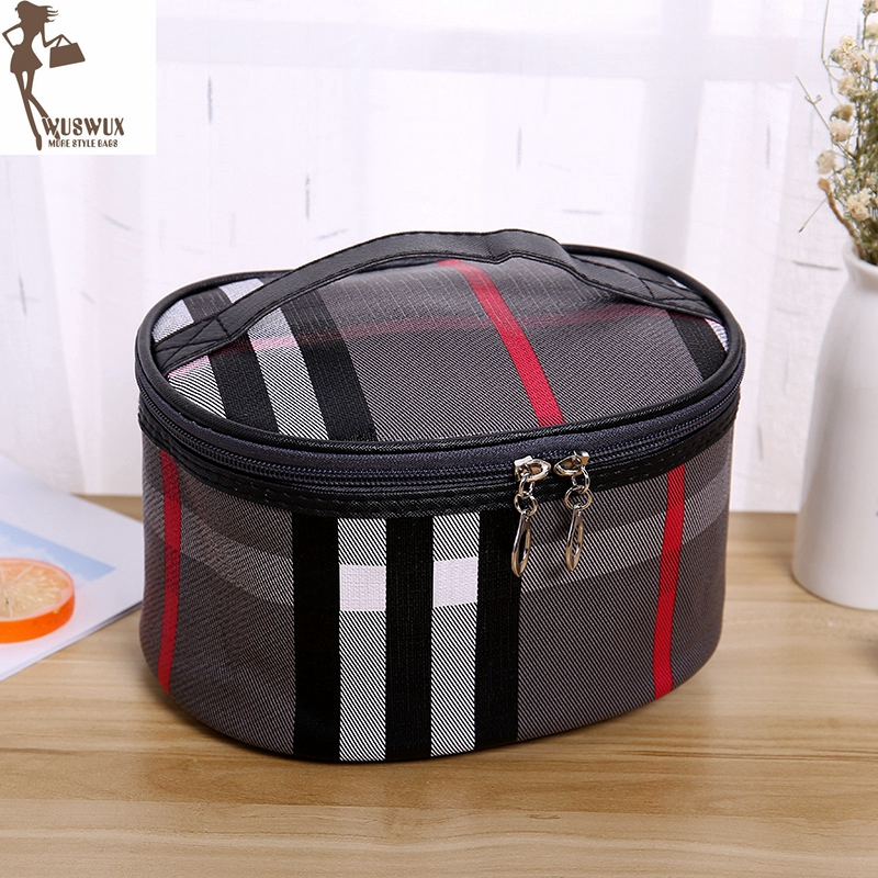 New Fashion Women Make Up Bag Casual Plaid Cosmetic Bag Cases Travel Organizer Professional Makeup Case Beauty Bag 3 Colors