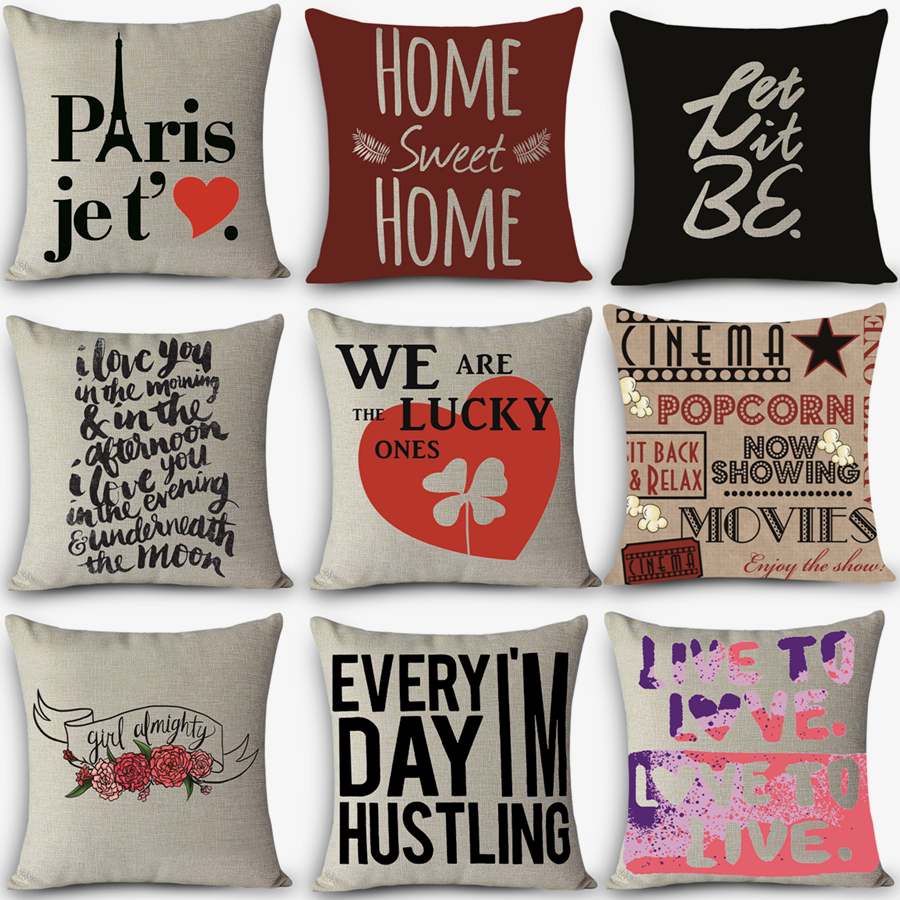 High Quality Home Decorative Pillow Love Sweet Words Printed 45x45cm Pillowcase Vintage Cotton Linen Pillows Modern Style G8 Pillow Modern Pillow Lovepillow Decorative Pillow Aliexpress