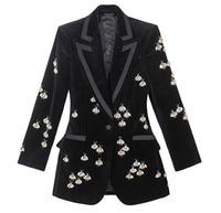 Высокое качество Бриллиантами Бисер бархат пиджаки для женщин Куртки Chic для черный обтягивающие блейзеры пальто G074