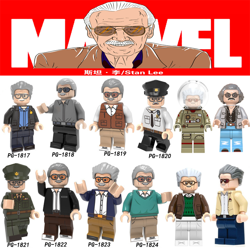 For Marvel Father Stan Lee Figures Super Heroes Author Character Bricks Building Blocks Toys Gifts For Children(China)