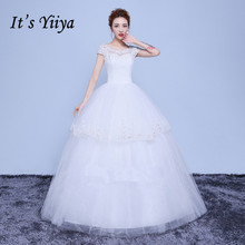 Free Shipping Tulle Short Sleeves Lace O-Neck Wedding Dresses White Bridal Frocks Real Photo Custom Made Vestidos De Novia Y1133
