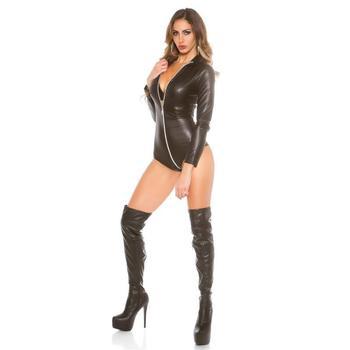 Sexy Long Sleeve Faux Leather Bodysuit Lingerie Open 1