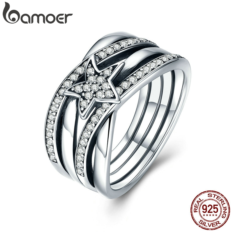 BAMOER Spring Collection 925 Sterling Silver Star Twisted Statement Ring For Women Engagement S925 Silver Jewelry SCR050BAMOER Spring Collection 925 Sterling Silver Star Twisted Statement Ring For Women Engagement S925 Silver Jewelry SCR050