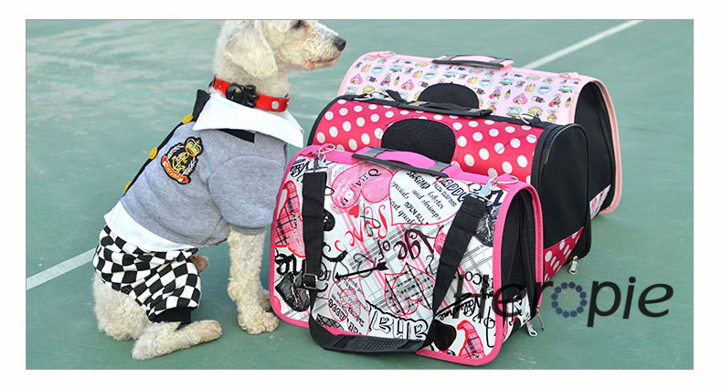 Heropie Petcircle Folding Printing Pet Carrier Carrying Cat Dog Carry Hand Tote Bag Travel Portable Puppy Backpack Flight Case