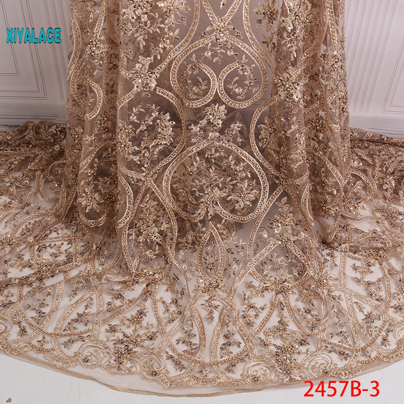 African Lace Fabric Beads Lace Fabric 2019 Embroidered Nigerian Net Laces Fabric Bridal High Quality French Tulle YA2457B-3