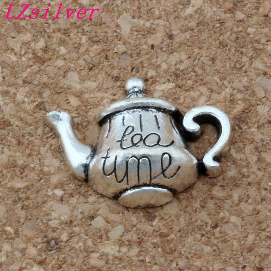 100pcs Antique silver Alloy Single-sided Tea Time Tea Pot Charms Pendant 19*12.5mm DIY Jewelry A-137