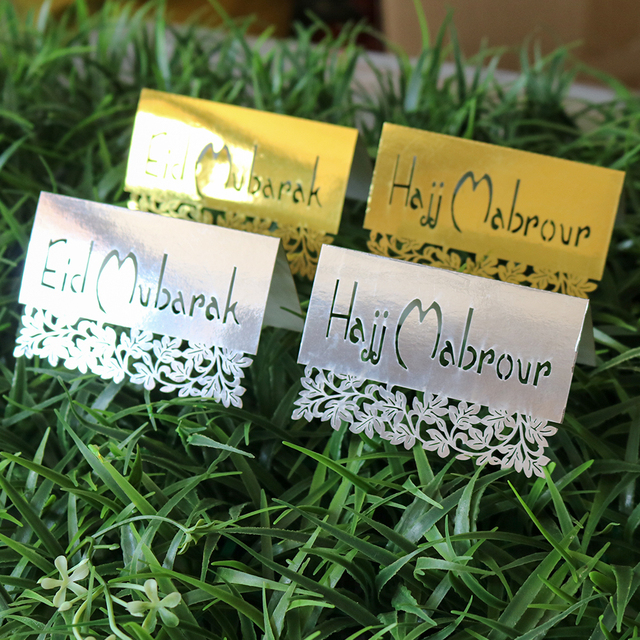 50 pieces 9x12cm gold and silver eid party table card eid mubarak 50 pieces 9x12cm gold and silver eid party table card eid mubarak and hajj mabrour greeting m4hsunfo