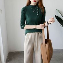 Cashmere sweater with buttons Fashion Sweater Seven-Quarter Sleeve Solid Cashmere Sweater Pullover Women Comfortable  Sweater недорого