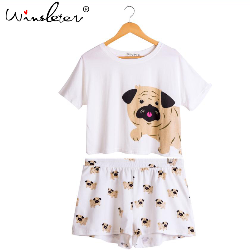 Women 2 Pieces Set Dog Pug Print Pajamas Pijamas Cotton Crop Top Elastic Waist Shorts Cute Nightwear Pyjamas Women S88598 AS