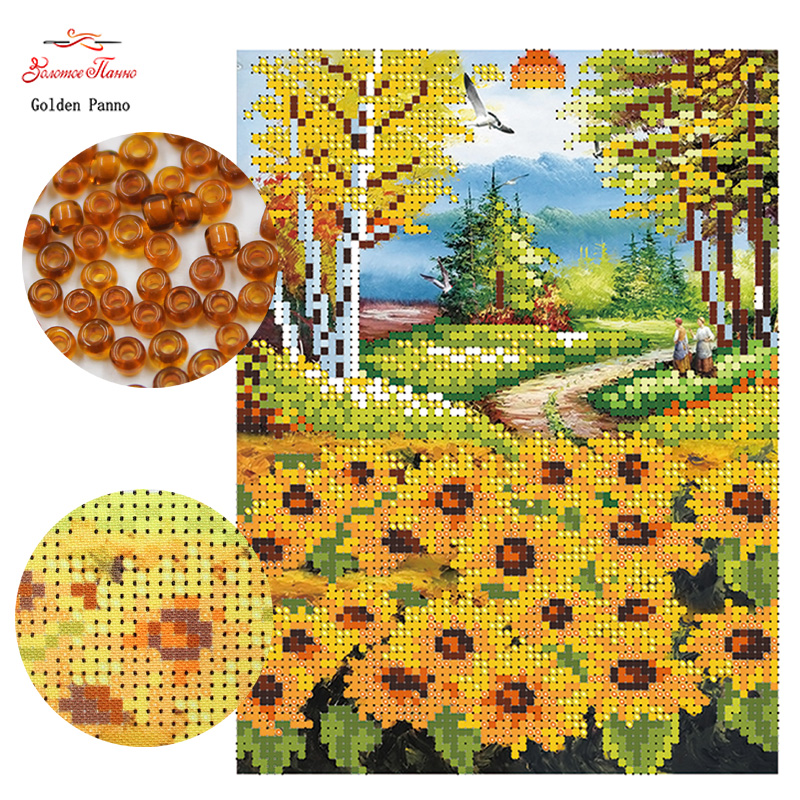 Golden Panno,Needlework DIY Cross Stitch Sets For Embroidery Kits Sunflower Pattern Counted Bead Cross-Stitching 0413