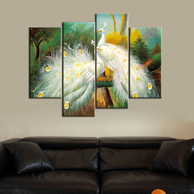 US $16 06 27% OFF|Animal Canvas Prints 4 Panels Wall Art Peacock Canvas  Print Painting Peacock Landscape Canvas Art for Home Decoration-in Painting  &