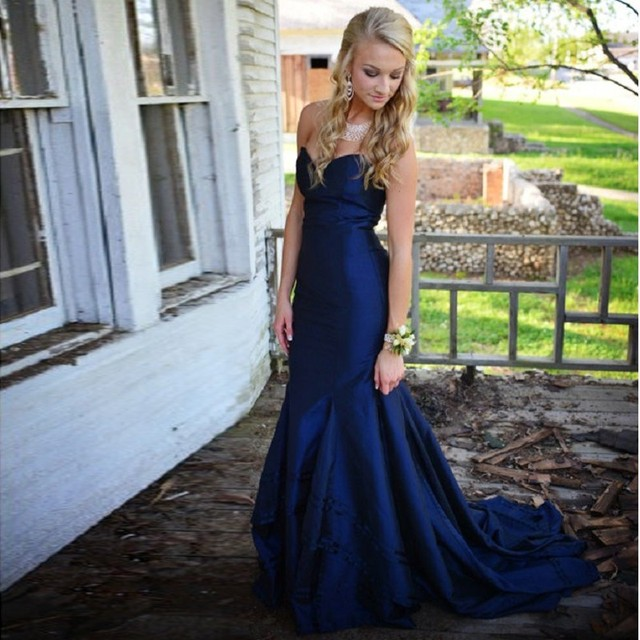 2017 Elegant Navy Blue Mermaid Prom Dresses Sexy -8404